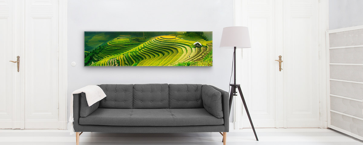 Panorama Reisfeld Graue Couch Leinwand Frontal