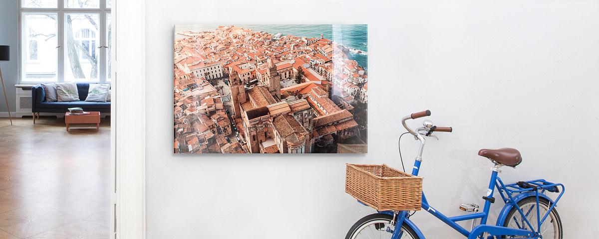 Beau Stadt Von Oben Blaues Fahrrad Acrylglas Frontal