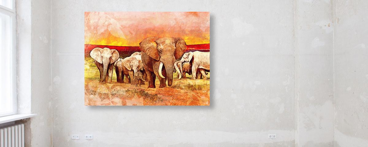 Stolze Schönheit für Ihre Wandgestaltung mit Ihrem Elefanten Gemälde