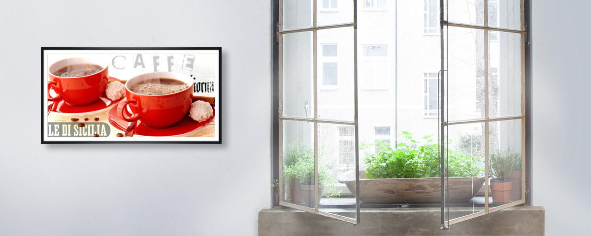 sagenhaft bilder mit roten kaffeemotiven wecken gute laune. Black Bedroom Furniture Sets. Home Design Ideas