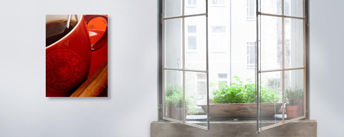 wandbilder mit kaffee motiv in knalligem rot. Black Bedroom Furniture Sets. Home Design Ideas