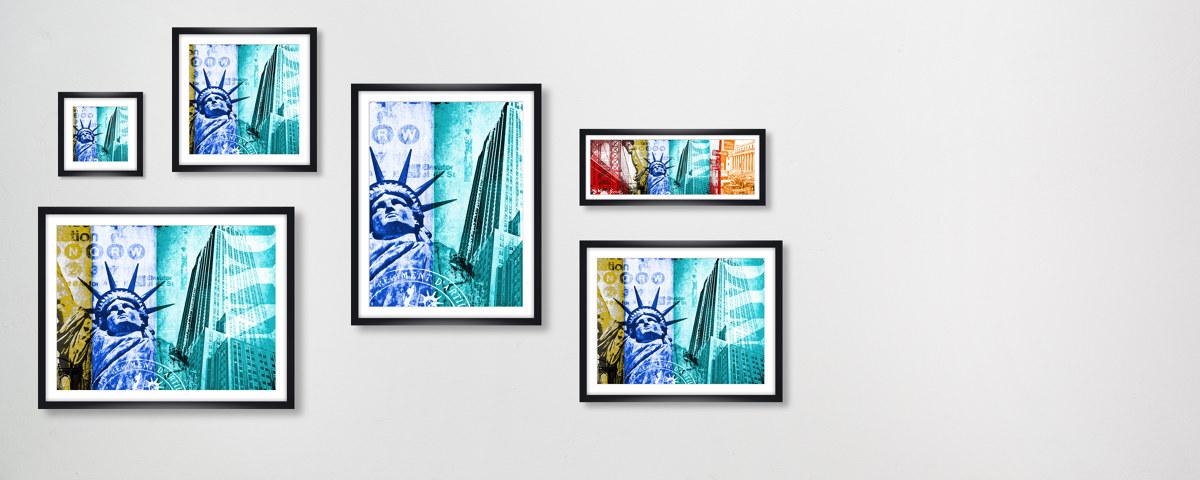 moderne collage von new york als blickfang. Black Bedroom Furniture Sets. Home Design Ideas