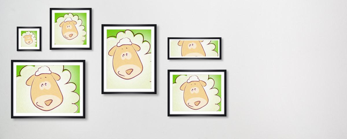 Zauberhaftes Kinderzimmerbild mit Schaf