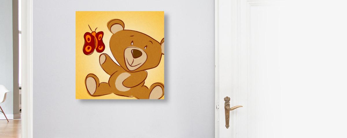 Zauberhaftes Kinderzimmerbild: Teddy großer Auftritt