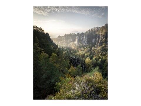 Basteiaussicht am Morgen Elbsandsteingebirge